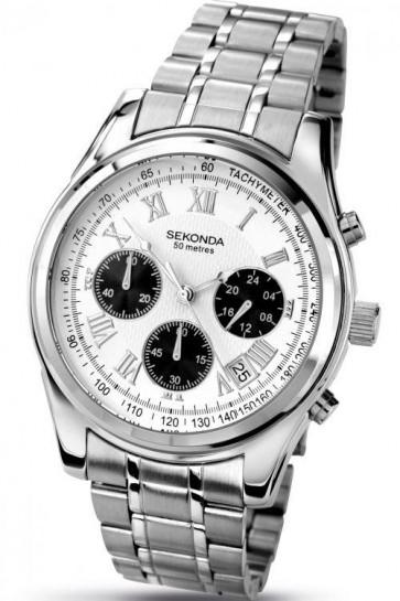 Sekonda Mens Chronogaph Watch Silver Dial Stainless Steel Case  and Bracelet SK3417