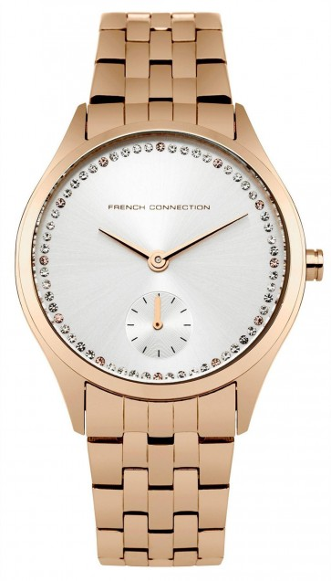 French Connection Womens Ladies Watch Stainless Steel Rose Gold Strap FC1272RGM