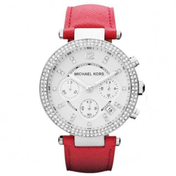 Michael Kors Womens Ladies Chronograph Parker Watch Red Strap MK2278