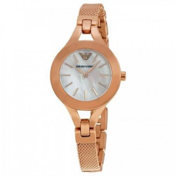Emporio Armani Ladies Watch Gold PVD Bracelet White Dial AR7329