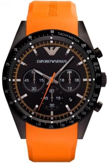 Emporio Armani Mens Chronograph Watch Orange Silcone Strap Black Dial AR5987