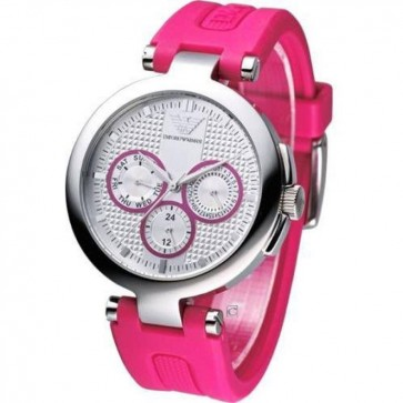 Emporio Armani Ladies Watch Silver Dial Day/Date Pink Rubber Strap AR0737