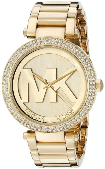 Michael Kors Parker Ladies Watch Gold PVD Bracelet Gold Dial with MK Logo MK5784