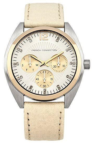 French Connection Womens Watch with Silver Dial Silver Leather Strap FC1172CG