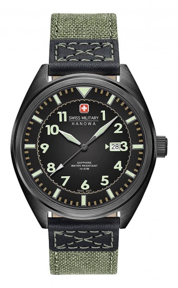 Swiss Military Mens Wrist Watch Green Fabric Strap Black Dial SM34521AEU/H01