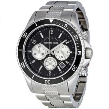 Michael Kors Mens Chronograph Watch Stainless Steel Bracelet Black Dial MK8174