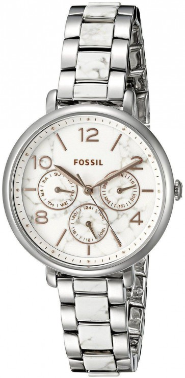 Fossil Ladies Jaqueline Watch Stainless Steel Bracelet White Marble Dial ES3939