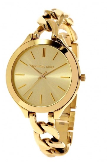 Michael Kors Ladies Runway Watch Champagne Dial Gold PVD Curb Link MK3222
