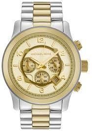 Michael Kors Mens Chronograph Watch Two Tone Stainless Steel Case and Bracelet Gold Dial MK8098