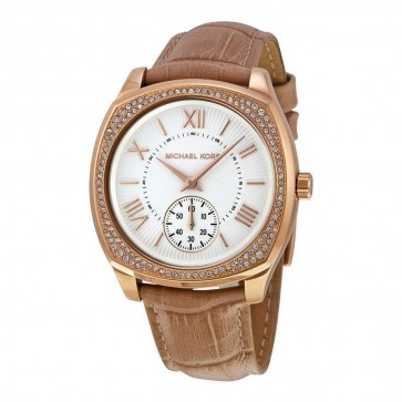 Michael Kors Ladies Watch Slim Runway Double Vachetta Tan Strap MK2328