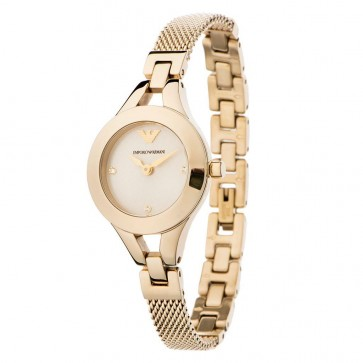 Emporio Armani Ladies Watch Gold Mesh Bracelet Gold Dial AR7363