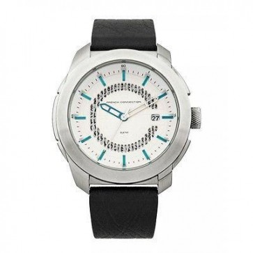 French Connection Mens White Dial Black Leather Strap FC1189UB