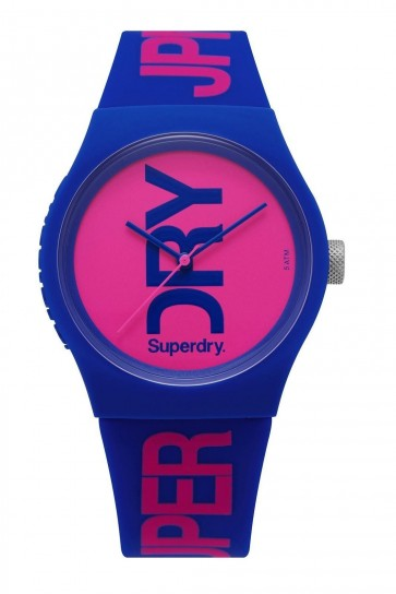 SUPERDRY URBAN Unisex Blue Silicone Strap Pink Dial Watch SYL006UP