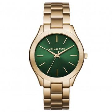 Michael Kors Ladies Slim Runway Wrist Watch Green Face Gold Strap MK3435