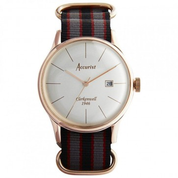 Accurist Mens Watch White Dial Gold PVD Case and Multi Colour Fabric Strap MS435S