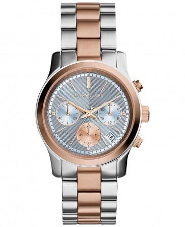 Michael Kors Runway Ladies Chronograph Watch Two Tone Bracelet Blue Dial MK6166