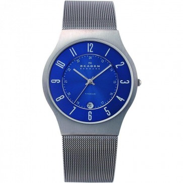 Skagen Men's Quartz Silver Titanium Case Stainless Steel Mesh Watch 233XLTTN