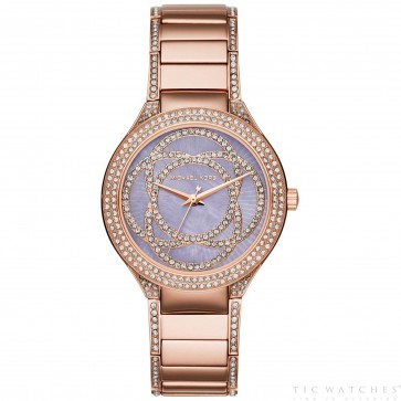 Michael Kors Kerry Womens Ladies Watch Rose Gold Stainless Steel Bracelet Mother Of Pearl Dial MKMK3482