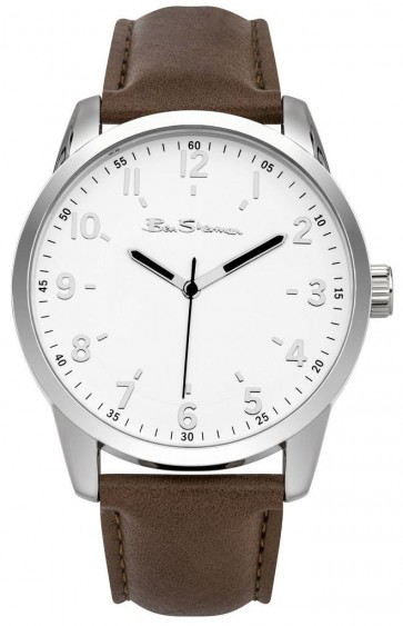 Ben Sherman  Mens Gents Brown Leather Silver Dial Wrist Watch BS138