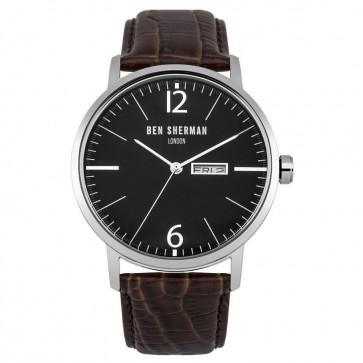 Ben Sherman Mens Big Portobello Watch Brown Strap Black Dial WB046BR