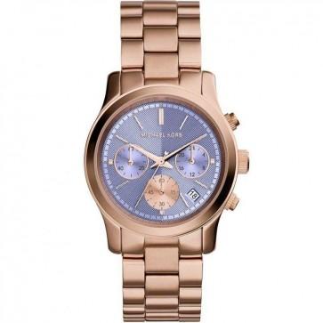 Michael Kors Runway Chronograph Womens Ladies Watch Rose Gold Stainless Steel Bracelet Purple Dial MK6163