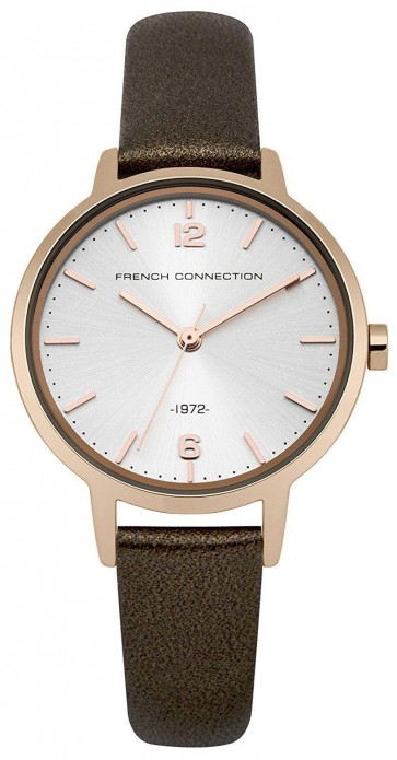 French Connection Womens Wrist Watch Silver Dial Brown Leather Strap FC1280TRG
