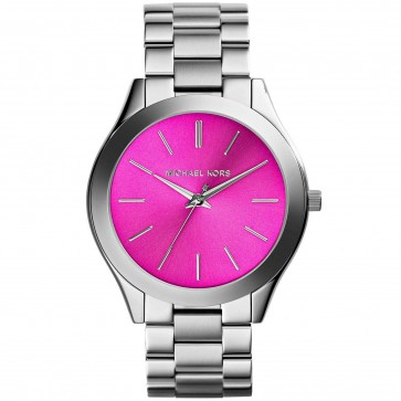 Michael Kors Ladies Slim Runray Watch Stainless Steel Case and Bracelet Pink Dial MK3291