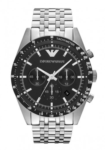 Emporio Armani Mens Chronograph Stainless Steel Classic Black Dial Watch AR5988