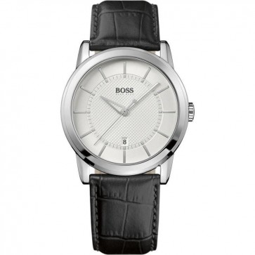 Hugo Boss Mens Watch Silver Dial & Black Strap 1512625