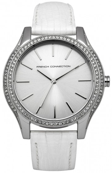 French Connection Womens Wrist Watch Silver Dial White Leather Strap FC1205W