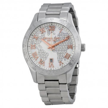 Michael Kors Layton Ladies Silver Crystal Map Watch MK5958