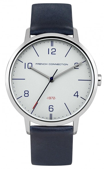 French Connection Mens Gents Watch  Silver Dial Blue Leather Strap FC1277U