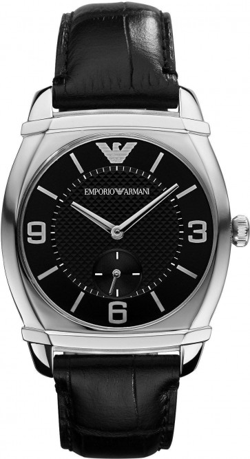 Emporio Armani Ladies Watch Black Dial and Crocodile Strap AR0344