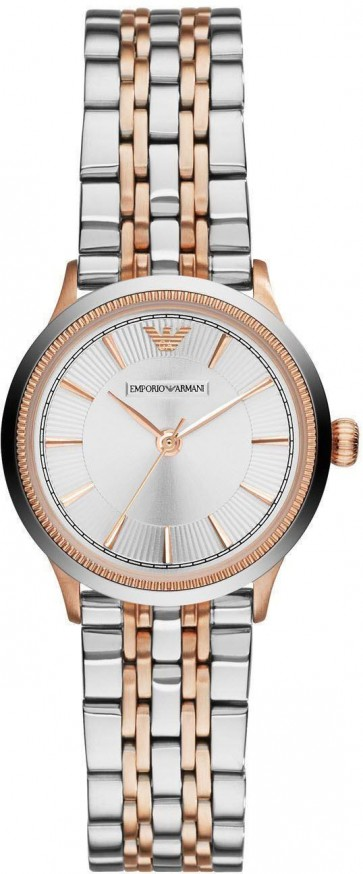 Emporio Armani Ladies Watch Two Tone Braclet Silver Dial AR1827