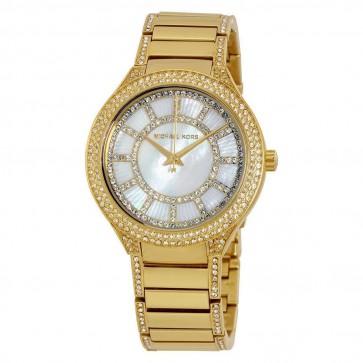 Michael Kors Ladies Wrist Watch Kerry Mother of Pearl Dial GoldTone MK3312