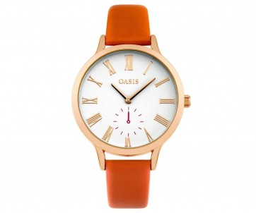 Oasis Ladies Watch Orange Strap White Face B1556