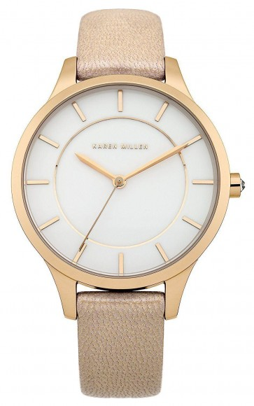 Karen Millen Womens Ladies Quartz Wrist Watch White Dial Beige Leather Strap KM133C