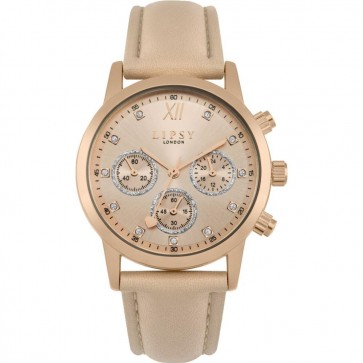 Lipsy Womens Ladies Wrist Watch Beige Strap Gold Dial  SLP008PRG