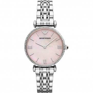 Emporio Armani Ladies Watch Stainless Steel Bracelet Pink Mother of Pearl Dial AR1779