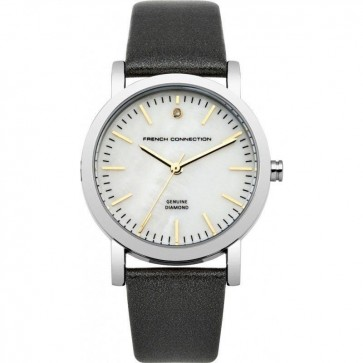 French Connection Womens Ladies Wrist Watch Silver Dial Black Leather Strap FC1250B