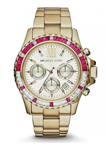 Michael Kors Ladies Everest Chronograph Watch Gold PVD Stainless Steel Case & Bracelet Gold Dial MK5871