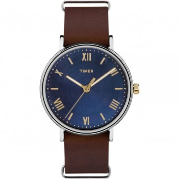 Timex Men's Gent's Quartz Watch With Blue Dial Brown Leather Strap TW2R28700