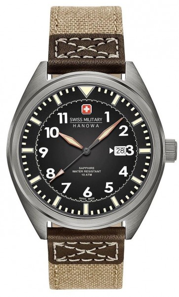 Swiss Military Mens Wrist Watch Brown Strap Silver Dial SM34521AEU/H03