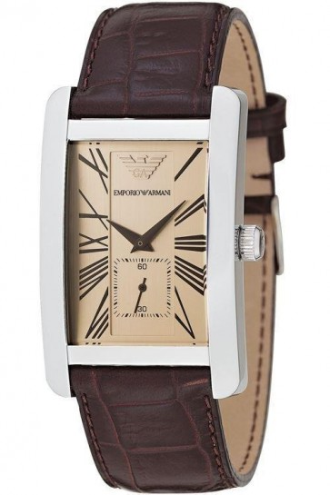 Emporio Armani Ladies Watch Beige Dial Brown Embossed Leather Band AR0155