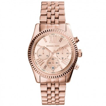 Michael Kors Lexington Ladies Chronograph Watch Rose Gold PVD Dial MK5569
