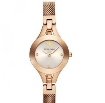 Emporio Armani Ladies Watch Rose Gold Mesh Bracelet Rose Gold Dial AR7362