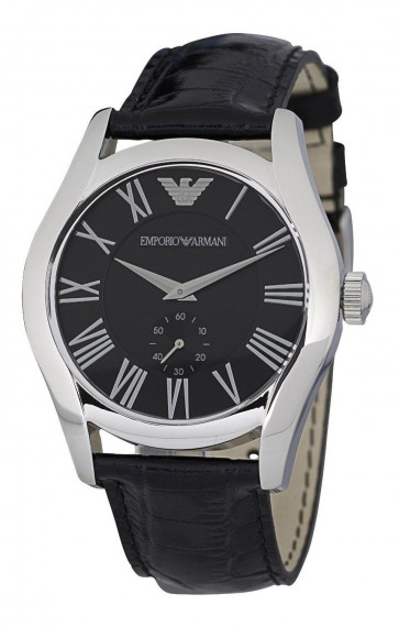 Emporio Armani Mens Watch Black Leather Stap Black Dial AR0643
