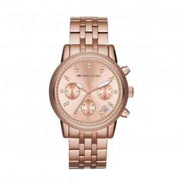 Michael Kors Ritz Ladies Chronograph Watch Rose Gold Bracelet MK6077