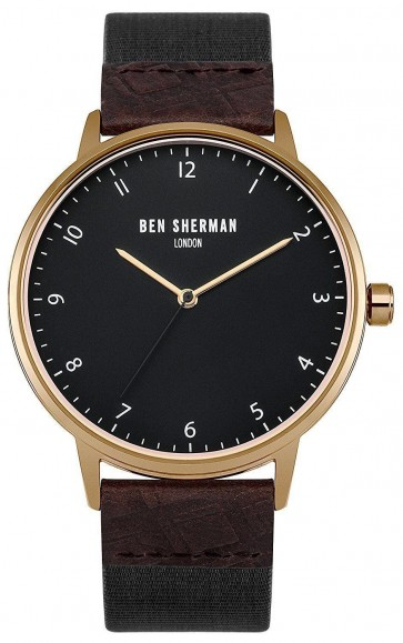 Ben Sherman Mens Watch Black Strap Black Dial WB049BRG