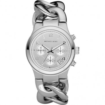 Michael Kors Runway Ladies Chronograph Watch Silver Bracelet Silver Dial MK3149